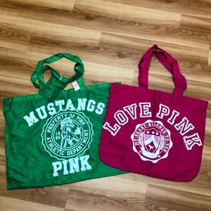 2 large Victorias secret tote Green NWT .pink NWOT